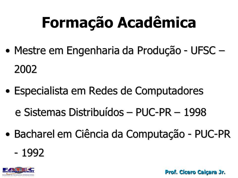 Formação Acadêmica Mestre em Engenharia da Produção - UFSC – 2002