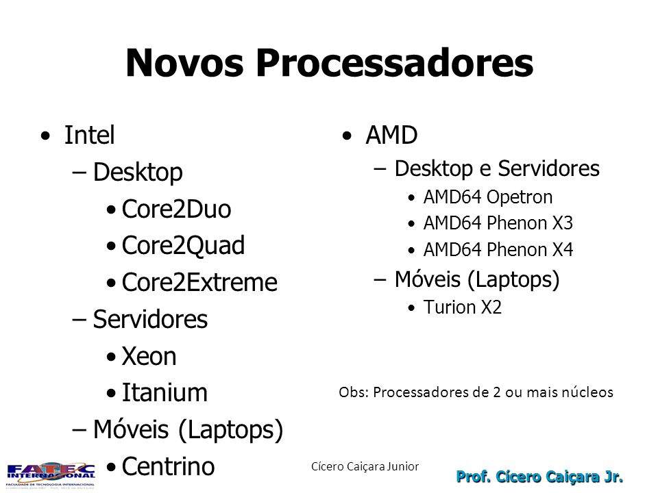 Novos Processadores Intel Desktop Core2Duo Core2Quad Core2Extreme