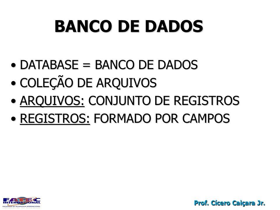 BANCO DE DADOS DATABASE = BANCO DE DADOS COLEÇÃO DE ARQUIVOS