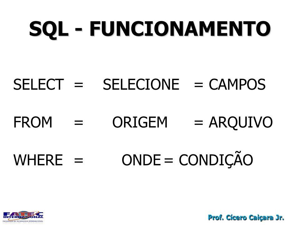 SQL - FUNCIONAMENTO SELECT = SELECIONE = CAMPOS
