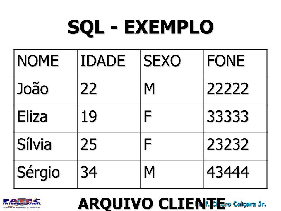 SQL - EXEMPLO NOME IDADE SEXO FONE João 22 M 22222 Eliza 19 F 33333