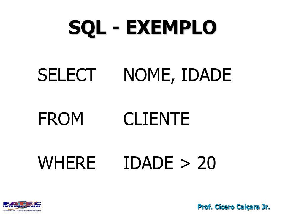 SQL - EXEMPLO SELECT NOME, IDADE FROM CLIENTE WHERE IDADE > 20