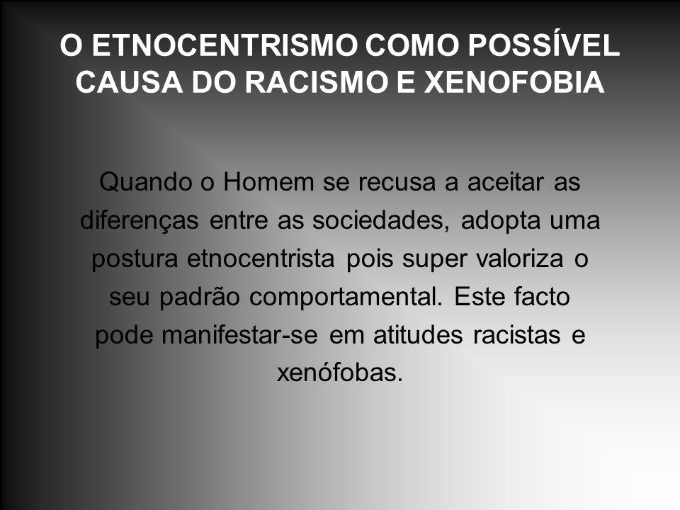 O ETNOCENTRISMO COMO POSSÍVEL CAUSA DO RACISMO E XENOFOBIA