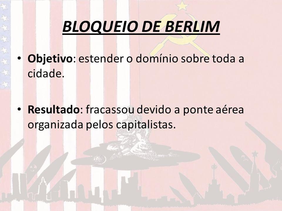 BLOQUEIO DE BERLIM Objetivo: estender o domínio sobre toda a cidade.