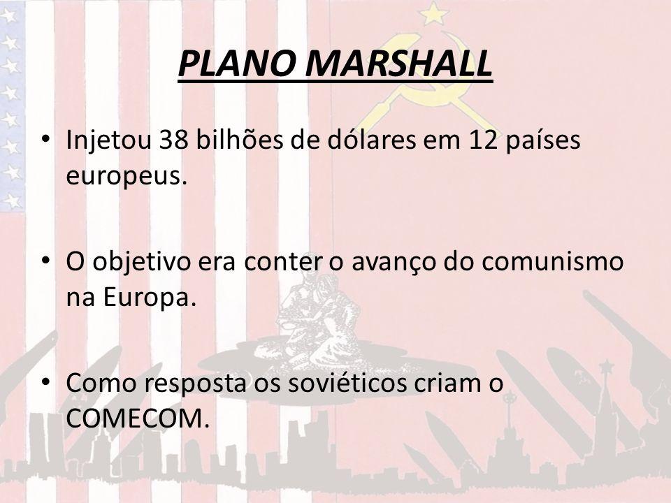 PLANO MARSHALL Injetou 38 bilhões de dólares em 12 países europeus.