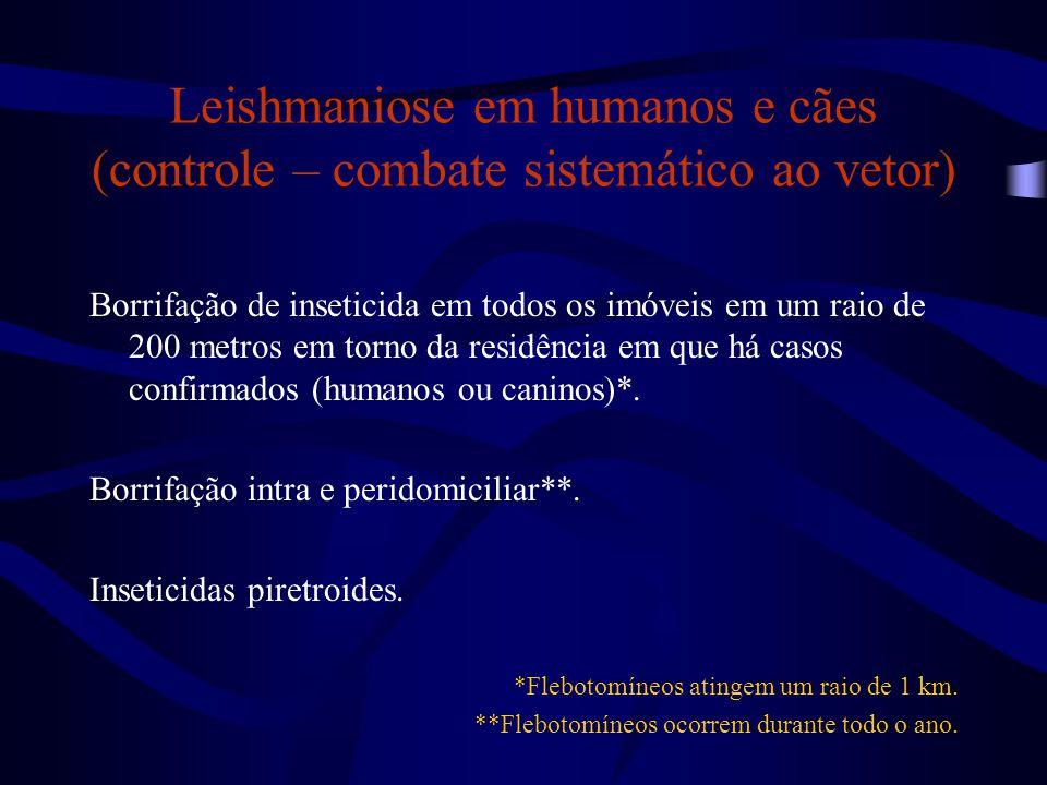 Leishmaniose em humanos e cães (controle – combate sistemático ao vetor)