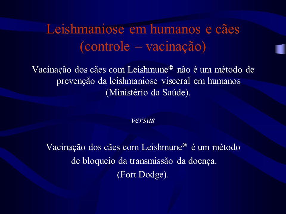 Leishmaniose em humanos e cães (controle – vacinação)
