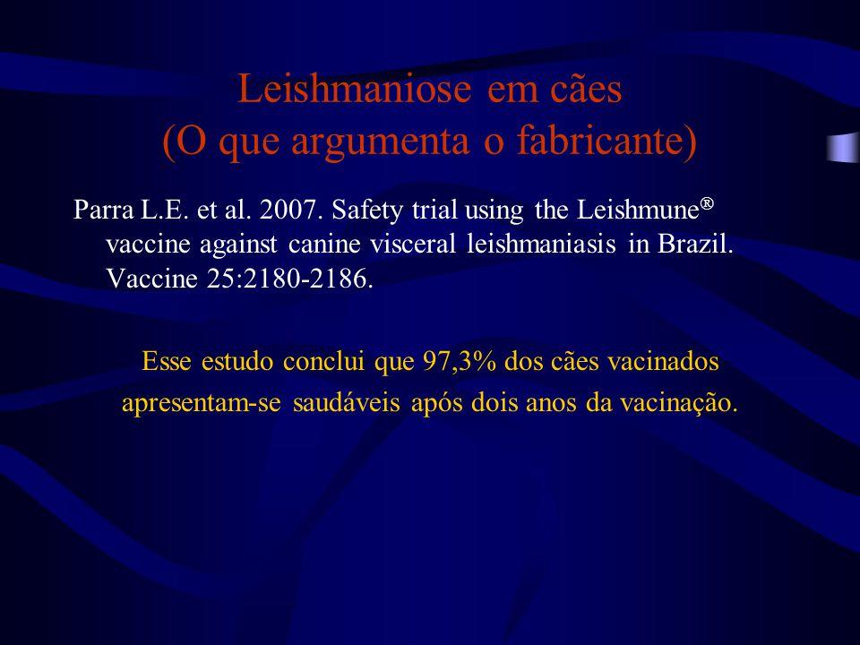 Leishmaniose em cães (O que argumenta o fabricante)