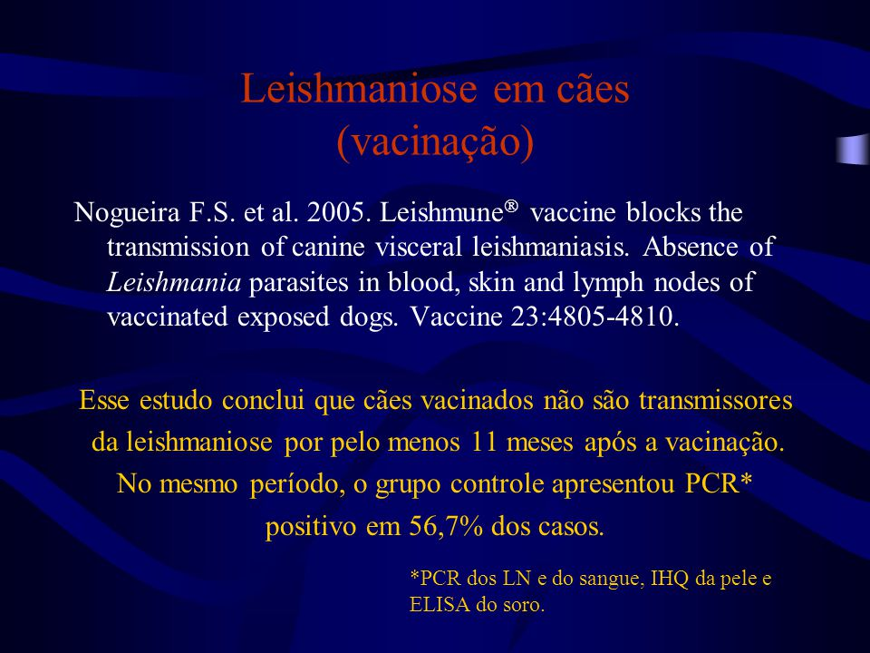 Leishmaniose em cães (vacinação)