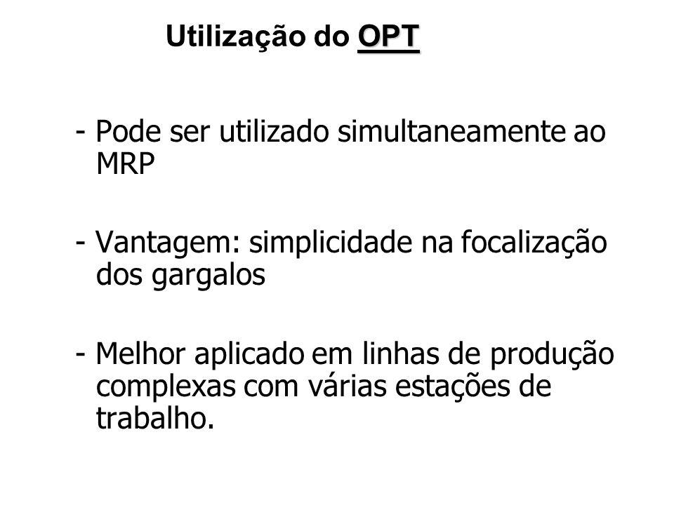 Utilização do OPT- Pode ser utilizado simultaneamente ao MRP. - Vantagem: simplicidade na focalização dos gargalos.