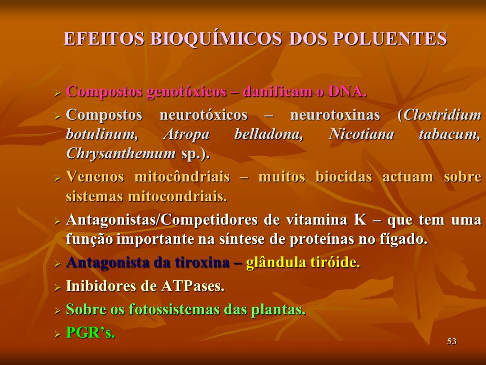EFEITOS BIOQUÍMICOS DOS POLUENTES