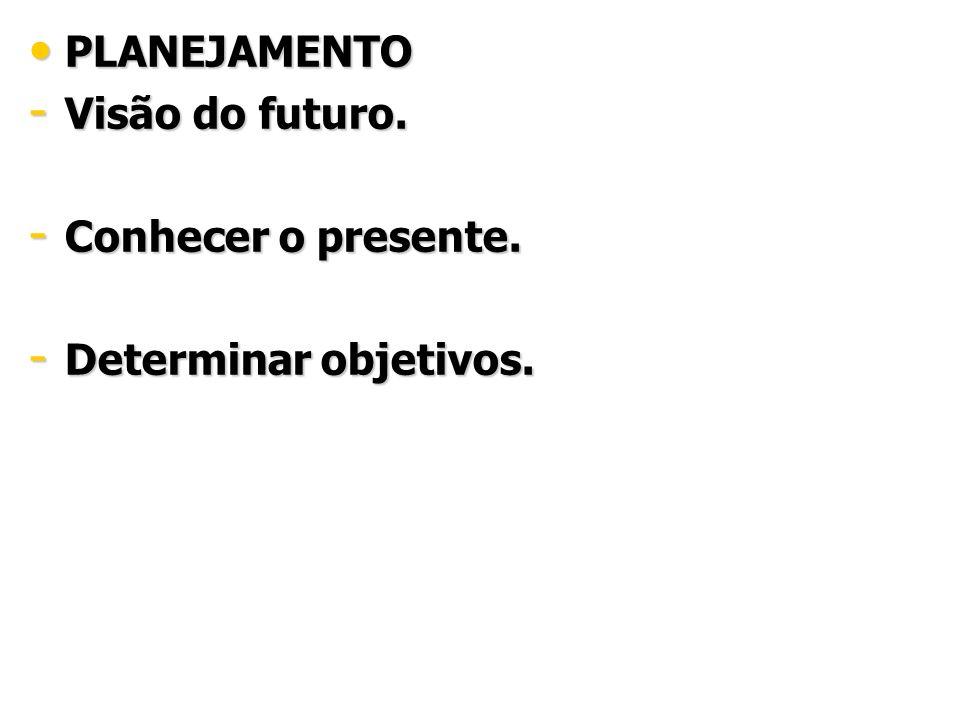 PLANEJAMENTO Visão do futuro. Conhecer o presente. Determinar objetivos.