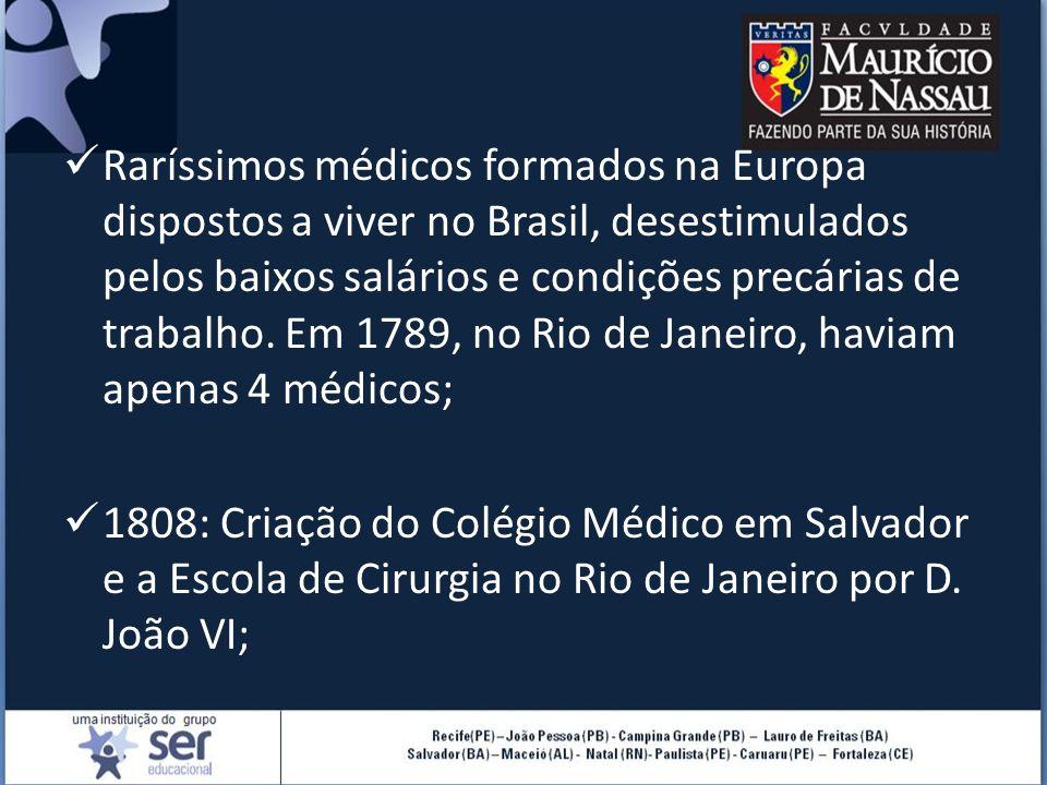 Raríssimos médicos formados na Europa dispostos a viver no Brasil, desestimulados pelos baixos salários e condições precárias de trabalho. Em 1789, no Rio de Janeiro, haviam apenas 4 médicos;