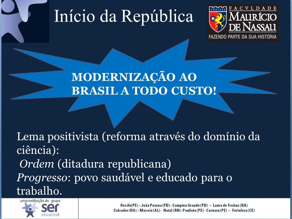 Início da República MODERNIZAÇÃO AO BRASIL A TODO CUSTO!