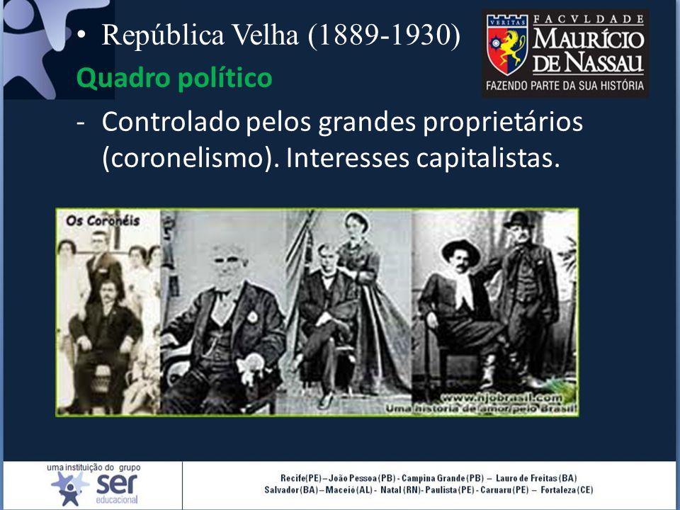 República Velha (1889-1930) Quadro político. Controlado pelos grandes proprietários (coronelismo).
