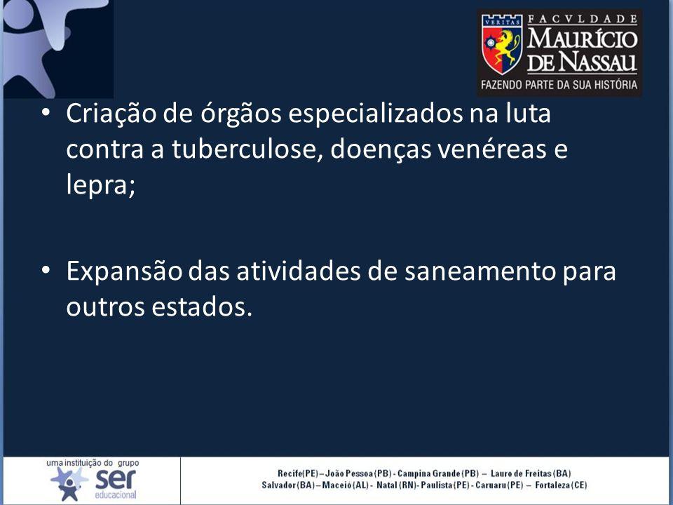 Criação de órgãos especializados na luta contra a tuberculose, doenças venéreas e lepra;