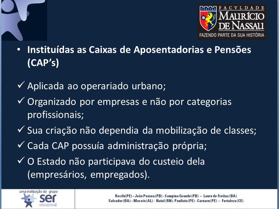 Instituídas as Caixas de Aposentadorias e Pensões (CAP's)
