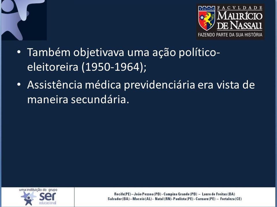 Também objetivava uma ação político-eleitoreira (1950-1964);