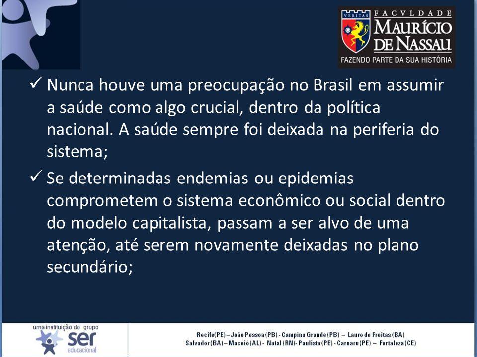 Nunca houve uma preocupação no Brasil em assumir a saúde como algo crucial, dentro da política nacional. A saúde sempre foi deixada na periferia do sistema;