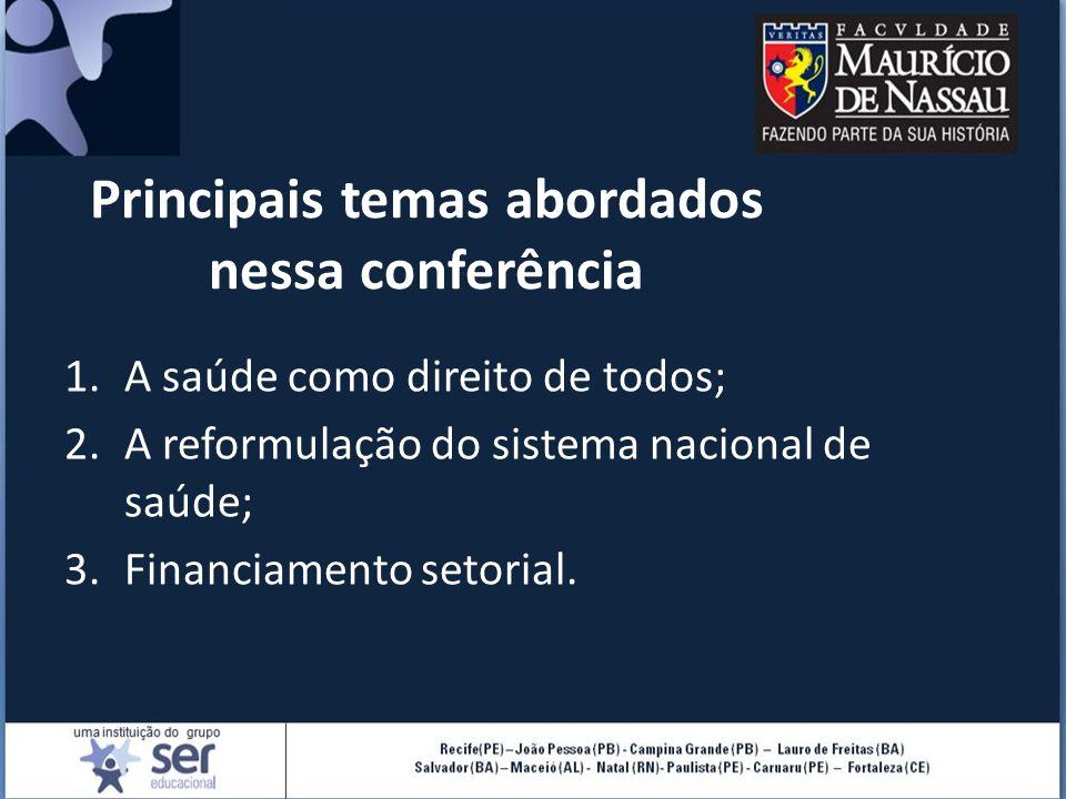 Principais temas abordados nessa conferência