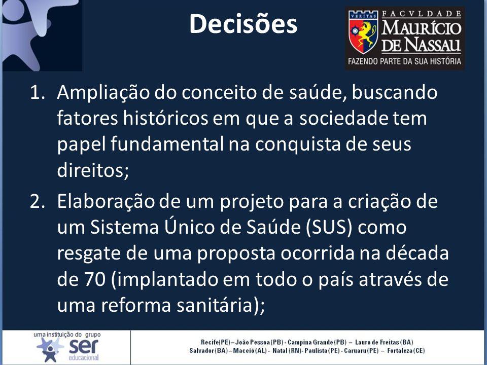 Decisões Ampliação do conceito de saúde, buscando fatores históricos em que a sociedade tem papel fundamental na conquista de seus direitos;