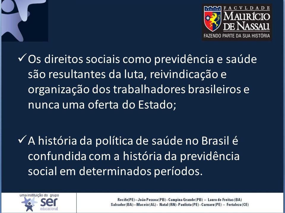 Os direitos sociais como previdência e saúde são resultantes da luta, reivindicação e organização dos trabalhadores brasileiros e nunca uma oferta do Estado;