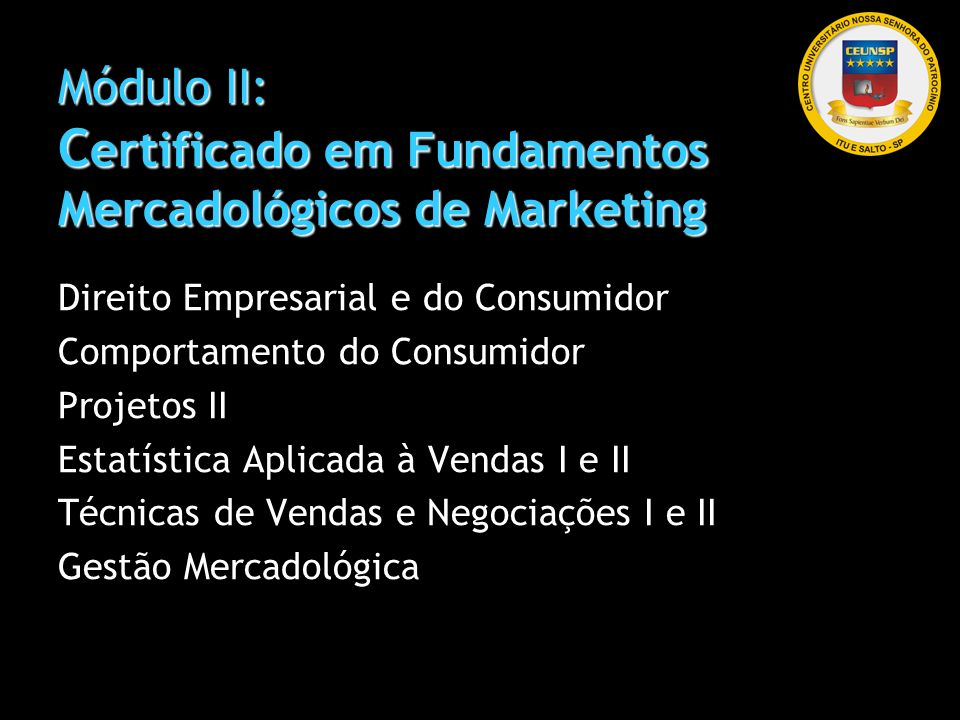 Módulo II: Certificado em Fundamentos Mercadológicos de Marketing
