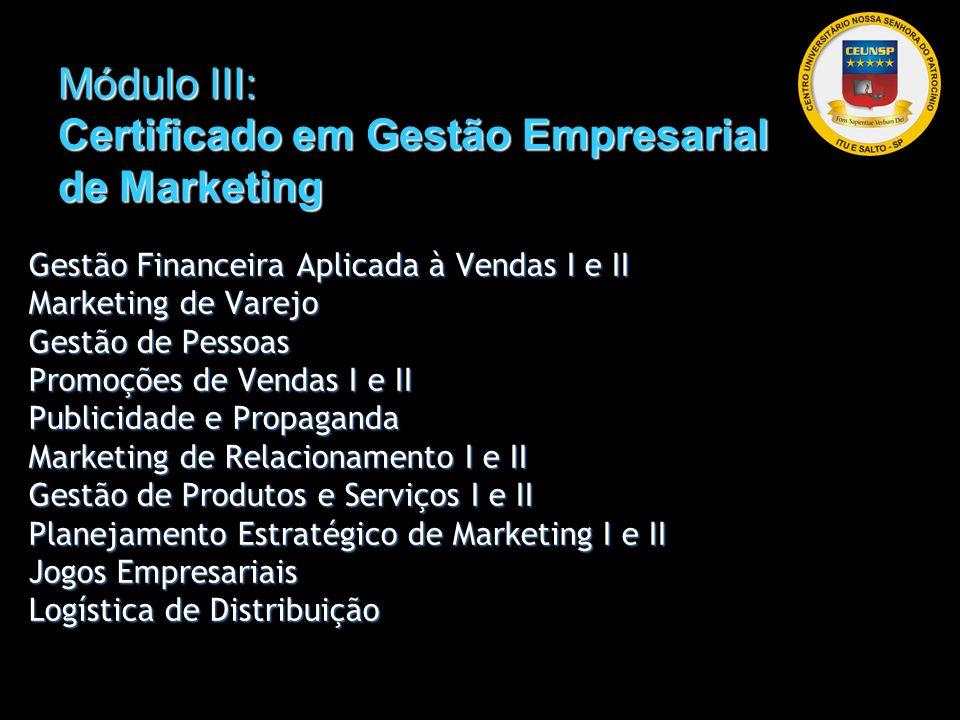 Módulo III: Certificado em Gestão Empresarial de Marketing