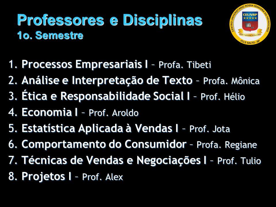 Professores e Disciplinas 1o. Semestre