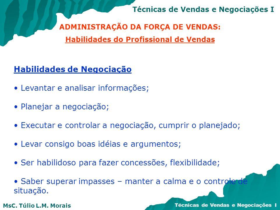 Habilidades de Negociação Levantar e analisar informações;