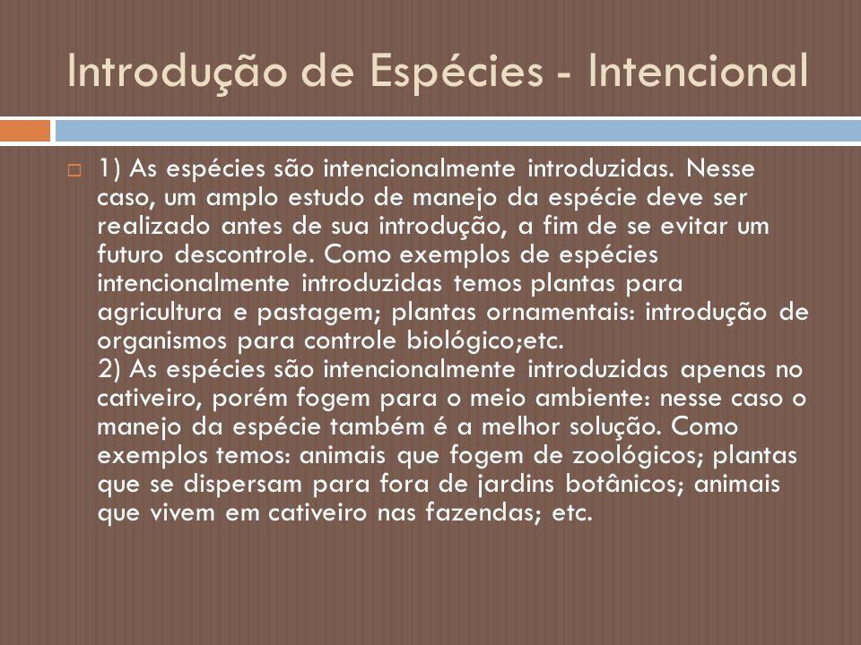 Introdução de Espécies - Intencional