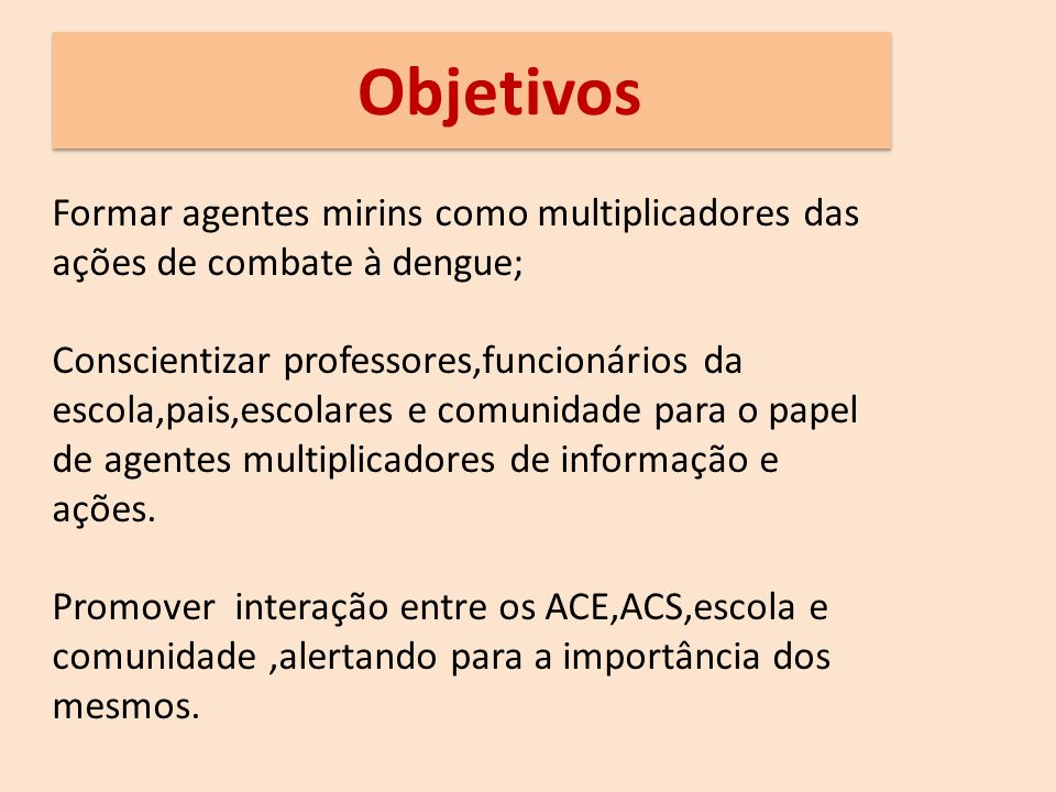 Objetivos Formar agentes mirins como multiplicadores das ações de combate à dengue;
