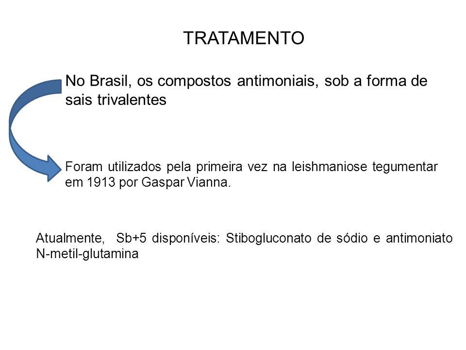 TRATAMENTO No Brasil, os compostos antimoniais, sob a forma de sais trivalentes.