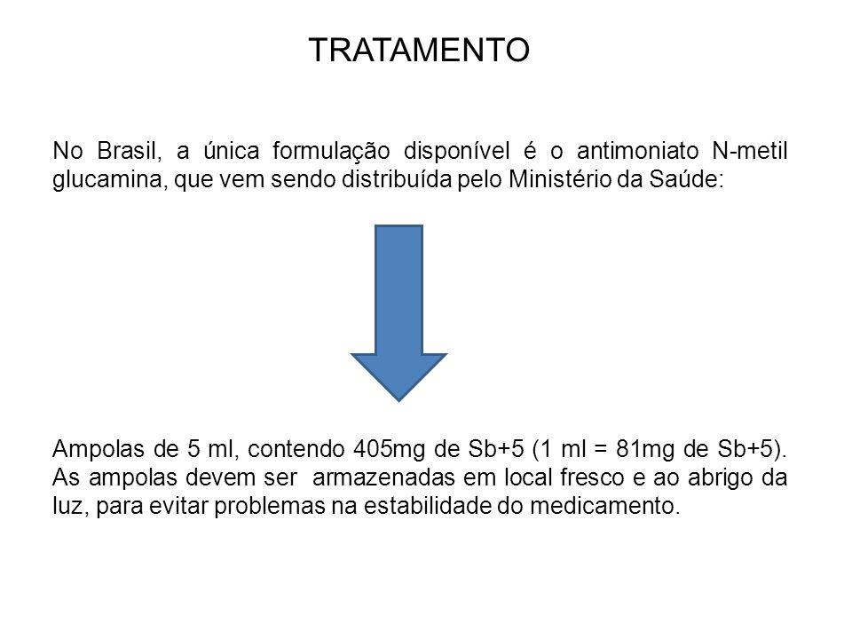 TRATAMENTO No Brasil, a única formulação disponível é o antimoniato N-metil glucamina, que vem sendo distribuída pelo Ministério da Saúde: