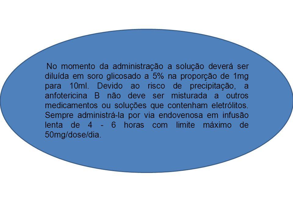 No momento da administração a solução deverá ser diluída em soro glicosado a 5% na proporção de 1mg para 10ml.