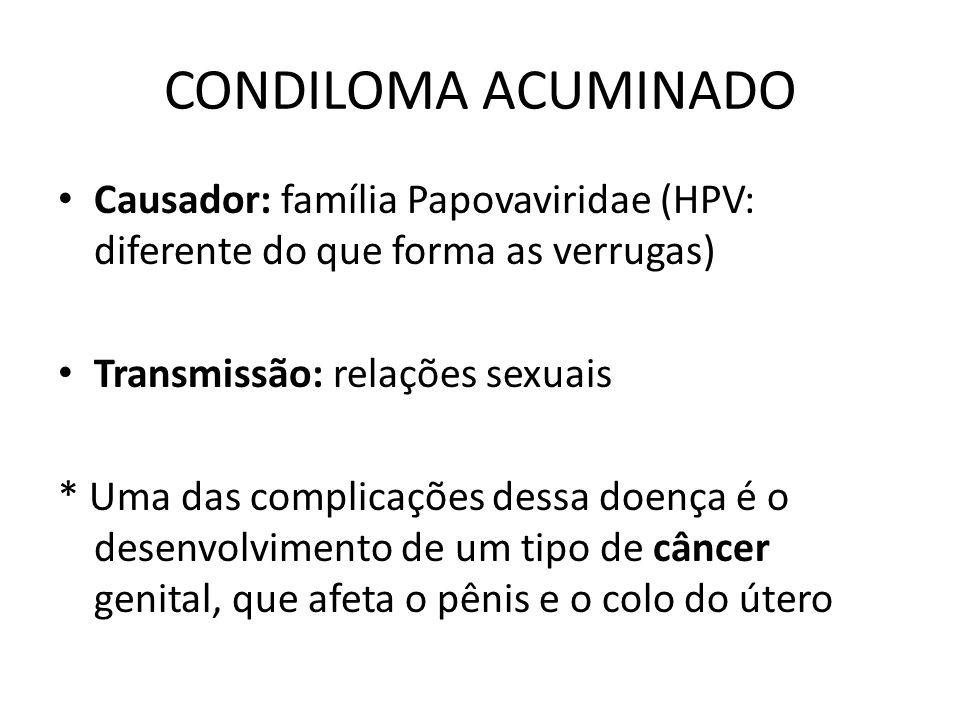 CONDILOMA ACUMINADO Causador: família Papovaviridae (HPV: diferente do que forma as verrugas) Transmissão: relações sexuais.