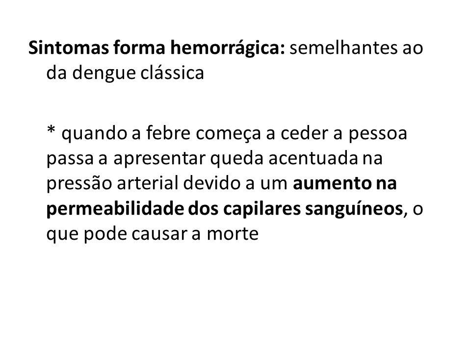 Sintomas forma hemorrágica: semelhantes ao da dengue clássica