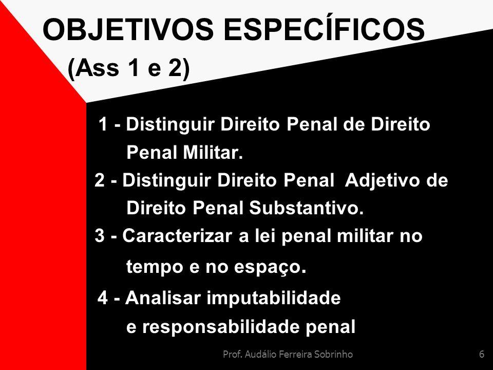 OBJETIVOS ESPECÍFICOS (Ass 1 e 2)