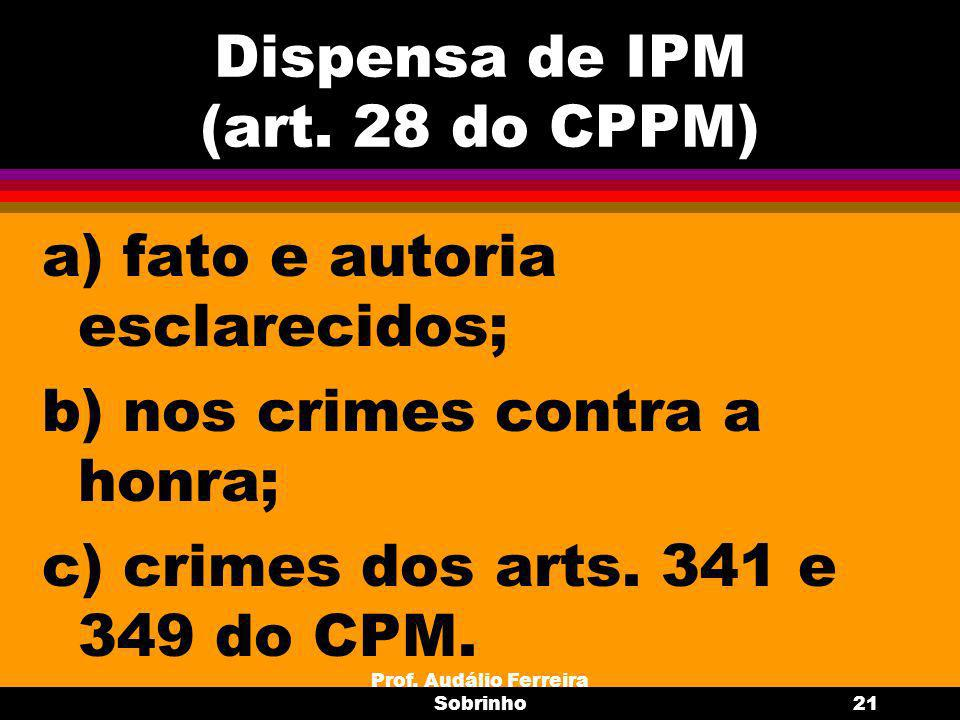 Dispensa de IPM (art. 28 do CPPM)