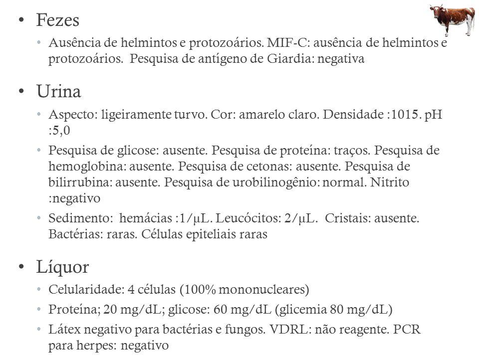 Fezes Ausência de helmintos e protozoários. MIF-C: ausência de helmintos e protozoários. Pesquisa de antígeno de Giardia: negativa.