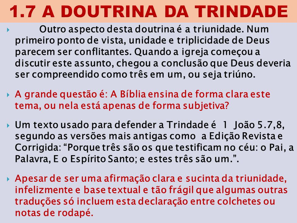1.7 A DOUTRINA DA TRINDADE