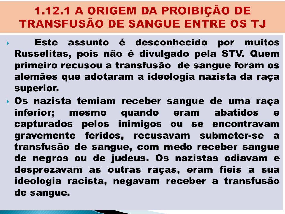 1.12.1 A ORIGEM DA PROIBIÇÃO DE TRANSFUSÃO DE SANGUE ENTRE OS TJ