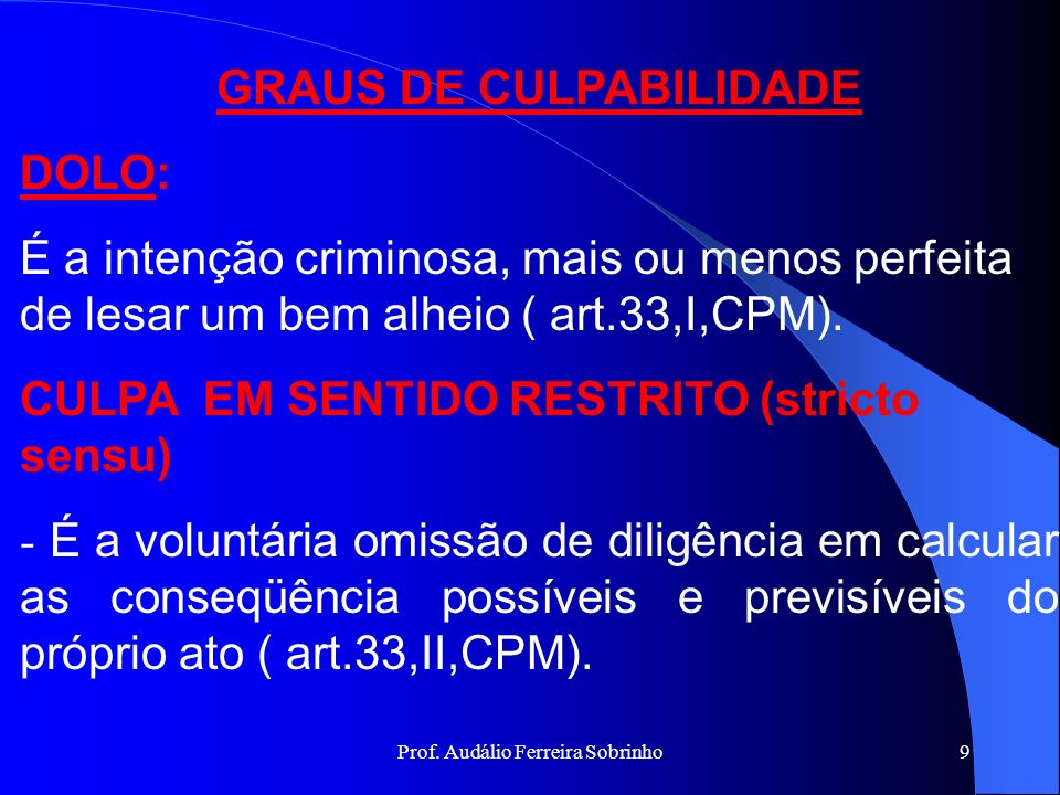 GRAUS DE CULPABILIDADE DOLO: