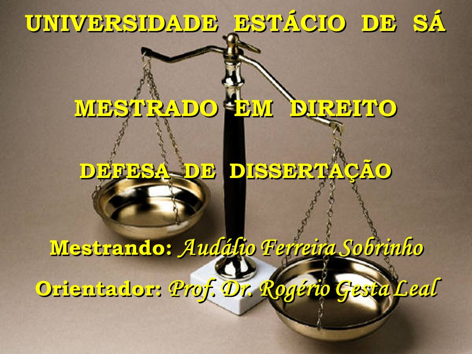 UNIVERSIDADE ESTÁCIO DE SÁ MESTRADO EM DIREITO