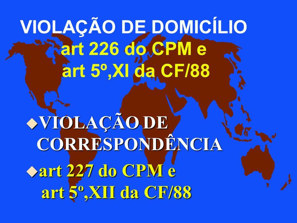 VIOLAÇÃO DE DOMICÍLIO art 226 do CPM e art 5º,XI da CF/88