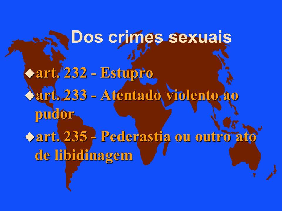 Dos crimes sexuais art. 232 - Estupro
