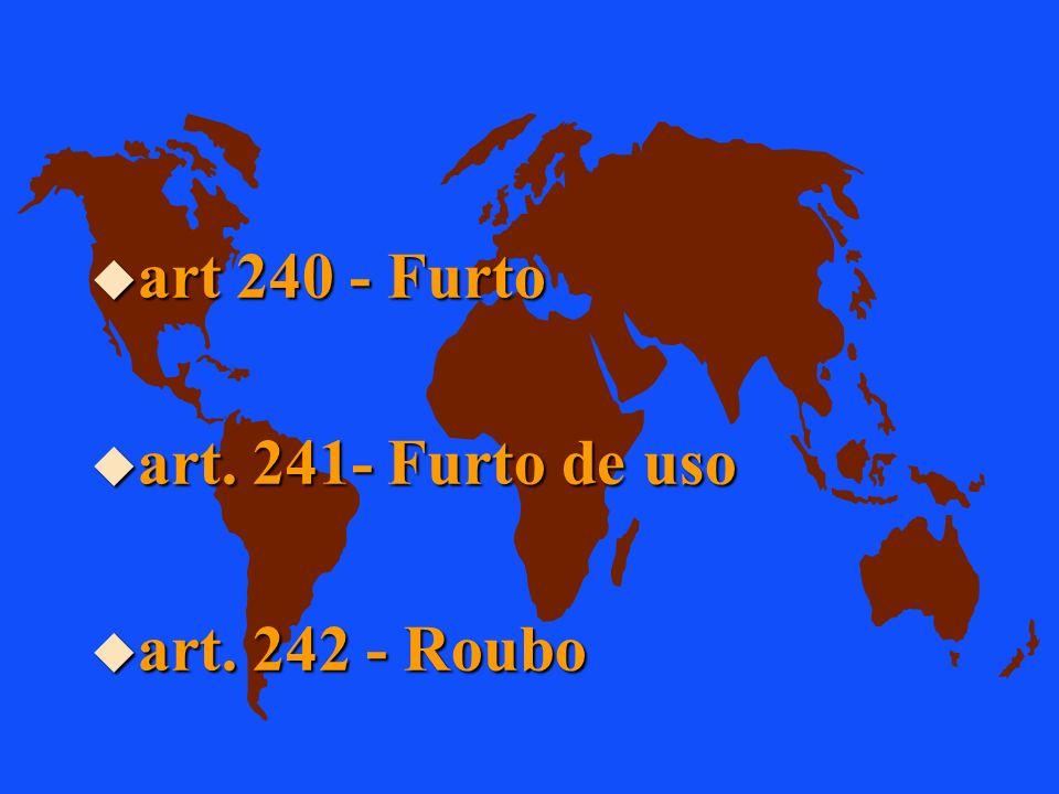 art 240 - Furto art. 241- Furto de uso art. 242 - Roubo