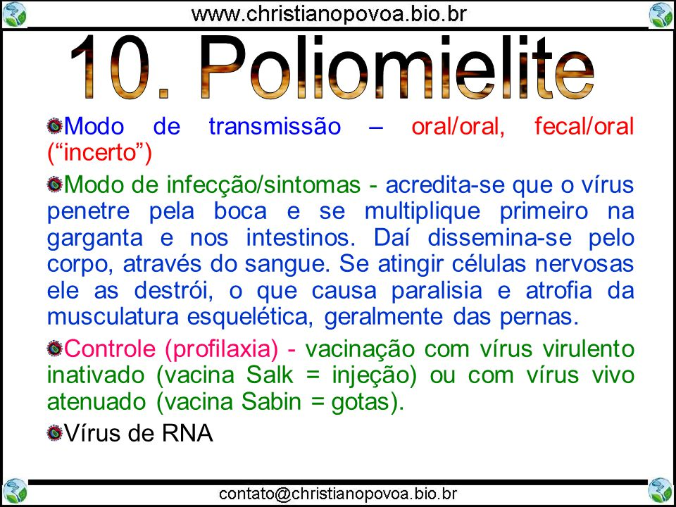 10. Poliomielite Modo de transmissão – oral/oral, fecal/oral ( incerto )