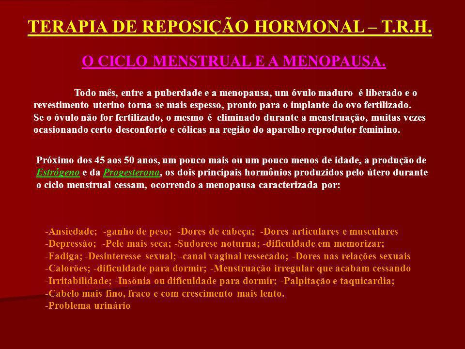TERAPIA DE REPOSIÇÃO HORMONAL – T.R.H.