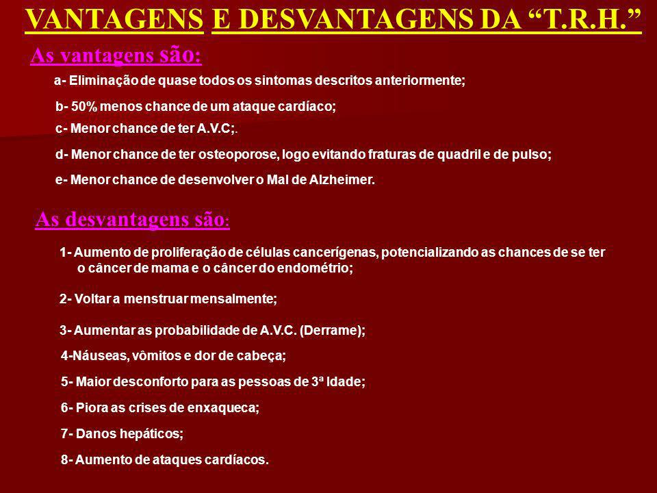 VANTAGENS E DESVANTAGENS DA T.R.H.